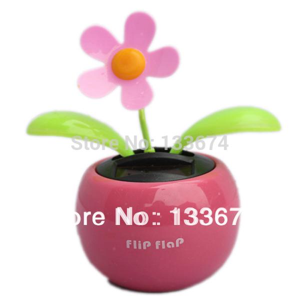 Home Car Flowerpot Solar Power Flip Flap Flower Plant Auto Swing Dance Toy Free Shipping(China (Mainland))