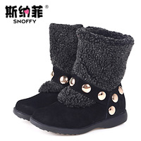 Snoffy children shoes winter new arrival child snow boots female cotton 1297505 child leather boots 17-25cm