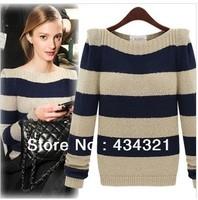 women plus size striped sweater autumn winter 2014 new fashion girl brand designer knitted sweater zara68 high quanlity hot top