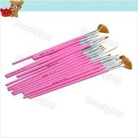 $15 can buy 30pcs, 2014 NEW 30pcs/lot Nail Art Brush Set Design Brushes Painting Pen Pink Free Shipping 3098