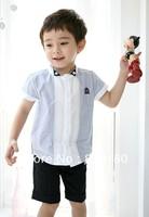 Hot summer Children boys kids preppy style fashion short sleeve badge blue shirt British style school splice blouse for boy f