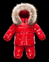 2013 winter children's clothing baby down coat set baby ploughboys raccoon fur hot-selling