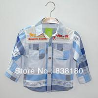 Children boys kids shirts preppy style fashion long/full sleeve casual lattice 100% cotton shirt plaid blouse for boys