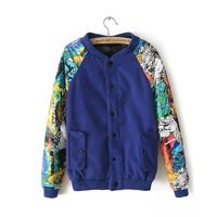 2013 winter new graffiti abstract casual sweater wild European and American hip-hop style baseball uniform thick coat female