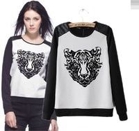 2013 autumn and winter in Europe and America big tiger head printing digital stereo sweater long sleeve T-shirt blouses