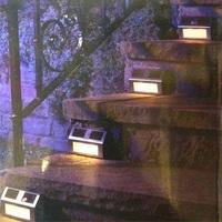 Genuine Warm white LED solar lights stainless steel stair lights wall lights garden lights fence Footlights