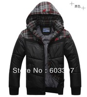 2013 Men's Outdoor winter down warmth down jacket down coat color black blue SIZE:L XL XXL XXXL