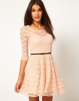 2013 New Fashion Autumn Candy Colors Sexy Party Women Dresses Hollowed Lace Casual Woman Dress With Belt S-L