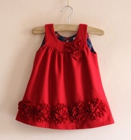Free Shipping,1pieces/lot, children dress/outerwear,children brand flowers dress,child wool design girl's dresses,2-8year,red