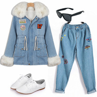 2013 Winter Faux Rabbit Fur Collar Adjustable Waist Fleece Lining Women's Denim Parkas Coat