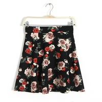 2013 European and American style three-dimensional painting Rose Print skirt high waist skirt