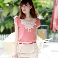 Frill Neck Design Lady Lace Shirt Large Size M / L / XL 2014 New Short-Sleeve Women Chiffon Blouse Free Shipping