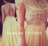 Glitter Cap Sleeve Beaded Long Yellow Prom Dress Chiffon Free Shipping WH393