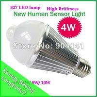 4W 6W Human Sensor Light  LED Bulb,High Quality aluminum alloy White Light Lighting
