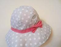 2014 New Children Caps Gray Color  White Dot Red Bowknot Summer Sunbonnet  Bucket Hats Baby Hat Girls Beach Cap 46,48,50cm,52cm