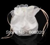 Freeshipping!!! 50pcs Ivory White Satin Bridal Bride Flower Girl Dolly Bag Handbag
