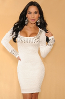 Studded long sleeve square neck dress long-sleeve beading square collar white one-piece dress
