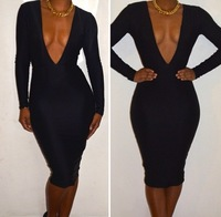 2013 sexy bandage formal dress black red long-sleeve racerback sexy women dress bandage one-piece dress