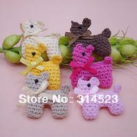mini cute crochet dog hand made crochet animals patches 60pcs a lot
