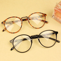 Free shipping Fashion vintage plain mirror plate myopia glasses frame big black round eyeglasses frame