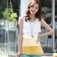 Sale 2014 Summer Ladies Chiffon Causal Tiered Tops T Shirt Sleeveless Blouses Plus Size XXL brown / yellow / green Free Shipping