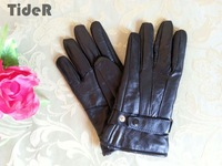 Winter velvet plus velvet thickening men's really sheepskin gloves strap buckle