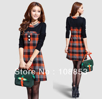2014 New Fashion Women's Long Sleeve Cotton Casual Dress Sweet Plaid Preppy Dress Spring Autumn Basic One Piece Dresses CMC-0357