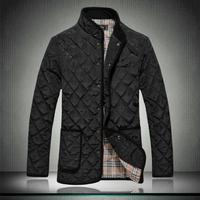 jacket men Quality fabric plaid dimond stand collar wadded mens jackets coats winter parkas s m l xl xxl xxxl 4xl 5xl 6xl