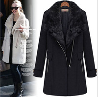 new models Europe and American casual long-sleeved winter warm thick fur collar wool coat jacket British style ,free shipping