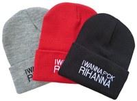 New arrival I wanna fuck Rihanna beanies caps in black gray red most popular mens  women's skullies beanie hats Freeshipping!