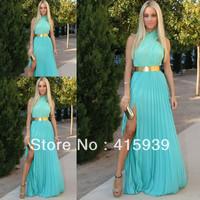 2014 New Fashion Halter Side Slit Chiffon Long Mint Green Events Dress Evening Dress WL252