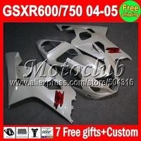 7gifts+Cowl Pearl White !! For SUZUKI GSX-R600 GSXR600 04 05 K4 GSXR750  C#107J71 04-05 ALL White 2004 2005 Fairing GSX-R750