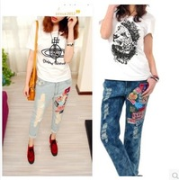 new autumn thick jeans women BF style loose big yards patch hole haren pants cowboy low waist denim pants free ship