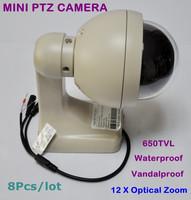 8Pcs/lot 650TVL Super HAD II Sony CCD Effio-e 12 X Optical Zoom Lens Vandalproof Mini PTZ Speed Dome CCTV camera Free Shipping