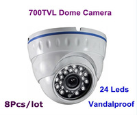 New! 8PCS 700TVL Effio-E  960H CCD Sony CCTV Vandalproof Dome Camera 24 Leds IR Camera Free Shipping