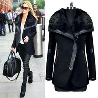 2014 new fashion women winter autumn and winter slim woolen outerwear coat rabbit fur overcoat