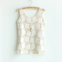 2013 summer women's spaghetti strap small vest lace sleeveless fashion slim basic shirt