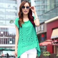3 size 4-color summer fashion shirts women's plus size long section of hollow chiffon shirt short-sleeve top women's blouse