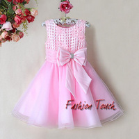 New Arrival Kids Flower Dresses Baby Pink Princess Party Dress With Bow Girls 2014 New Year Fashion Children Wear Ready Stock