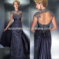 OUMEIYA OEM240 Crystal Rhinestone High Neck Keyhole Back Navy Blue Mother of the Bride Lace Dresses 2014