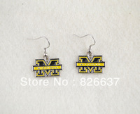 free shipping best selling Michigan Wolverines sport earrings,10pairs a lot,