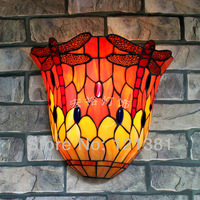 Vintage Tiffany Style Dragonfly Wall Sconce for Bedroom Classical Lighting Fixtures Stained Glass Lampshade Wall Lamp W12""
