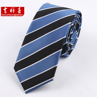 Tie fashion 6cm male solid color fashion marriage tie black and blue stripe