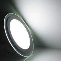 Global free shipping ultra thin aquarium recessed led wall light round panel downlight 6w/9w/12w/15w/18w 12pcs/lot