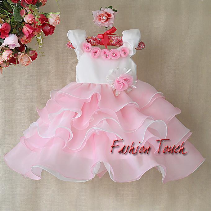 2014 New Girls Party Dresses Kids Pink Rose Princess Dress For Children Christmas Cake Wear Flower Dress Hot Sellers(China (Mainland))