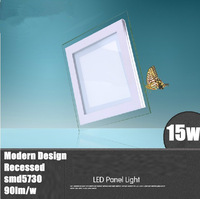 Free shipping square ceiling lamp led panel light 15w aluminium warm cold white 20pcs/lot