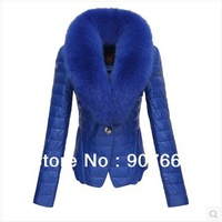 2013 New Fashion Winter Fashion Fox Fur Collar Leather brand Down Jacket Women Slim Leather Outerwear Coat For