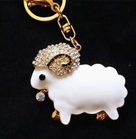 Fashion exquisite metal with full rhinestone zodiac sheep zodiac keychain key chain hangings