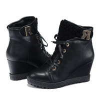 Everyday casual women's boots wedge boots women shoes black velcro 35-40