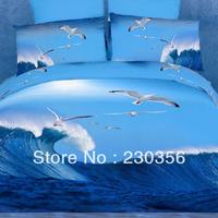 wholesale Home textile bedding 3d 100% cotton four piece set landscape oil painting seagull blue fitted  pillow cover